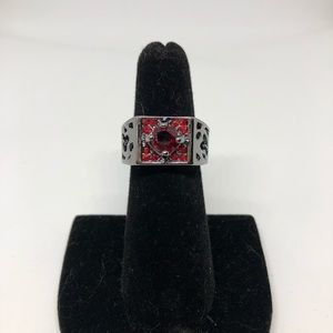 Red and silver cocktail ring